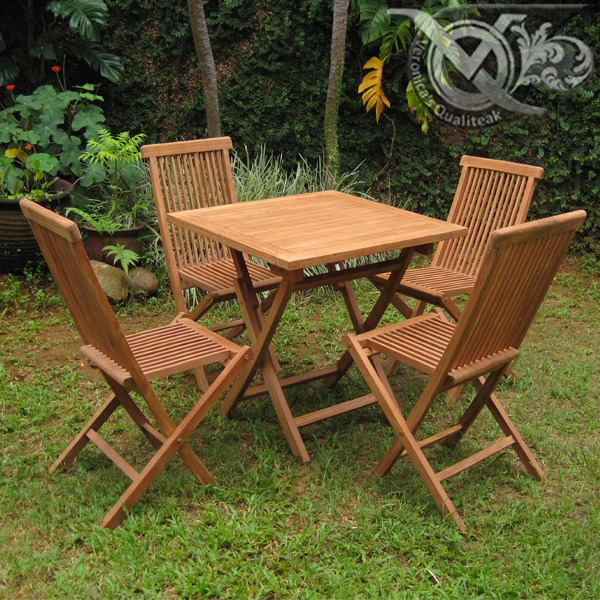 Buy Teak outdoor folding chairs set