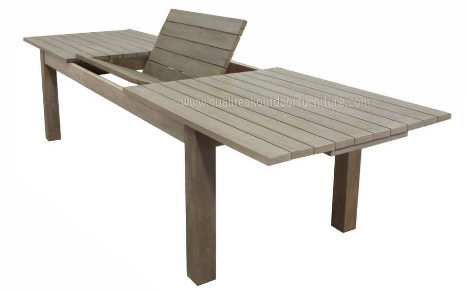 teak outdoor extension table open