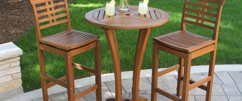 Teak Bar Table And Bar Chairs