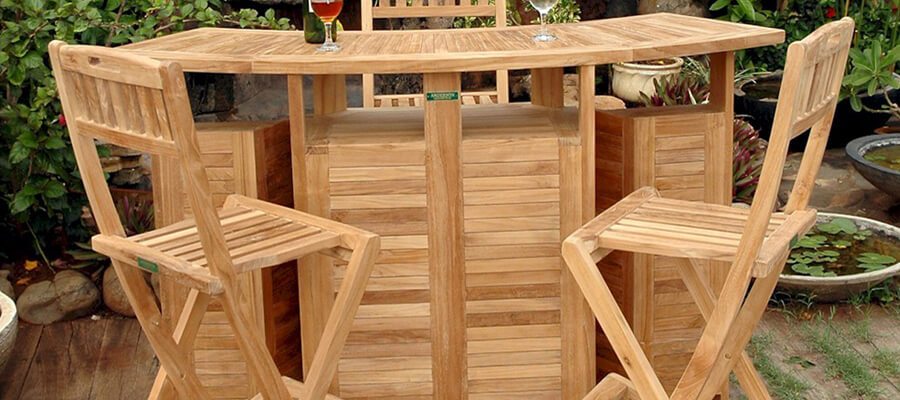 Teak bar chairs outdoors