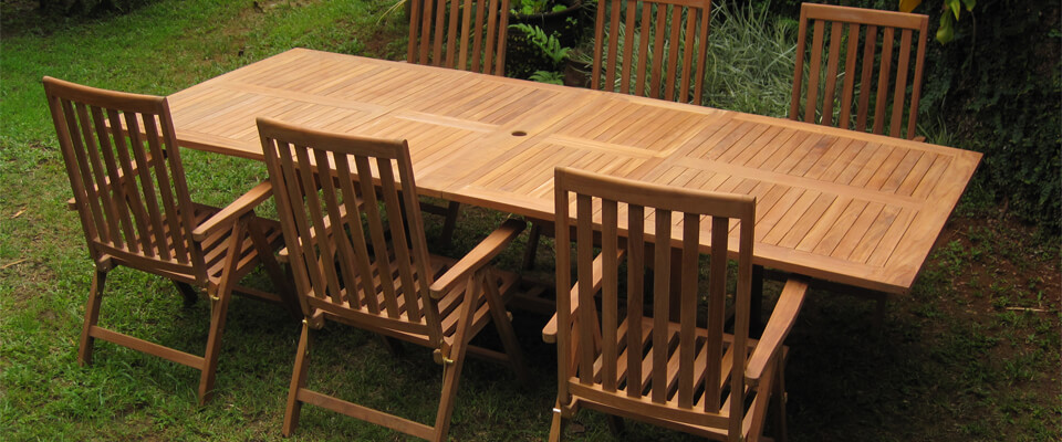 teak extension table with 6 chairs