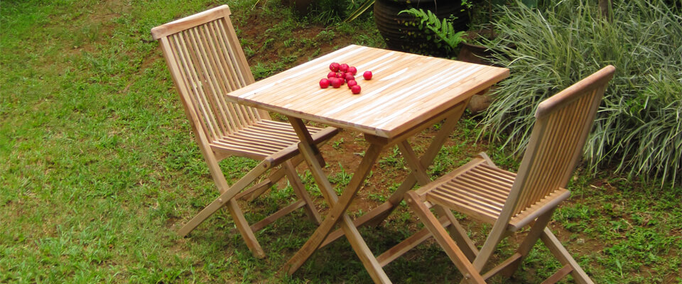 teak folding chair set