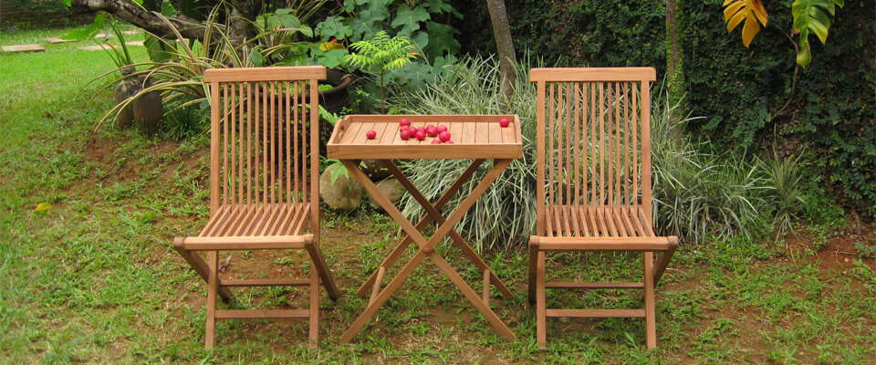 teak folding table with tray sets