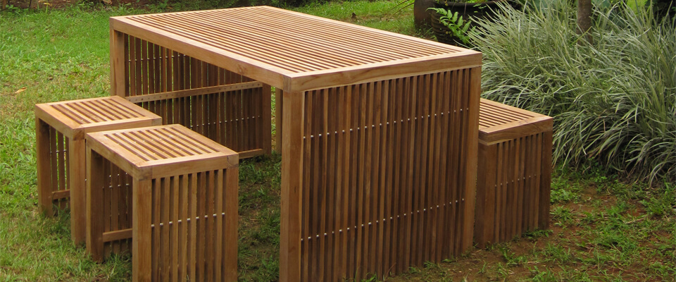 teak outdoor sets with bench and stools
