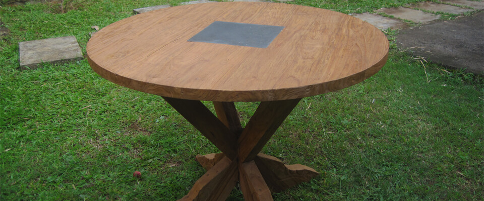 teak outdoor table with granit inlay