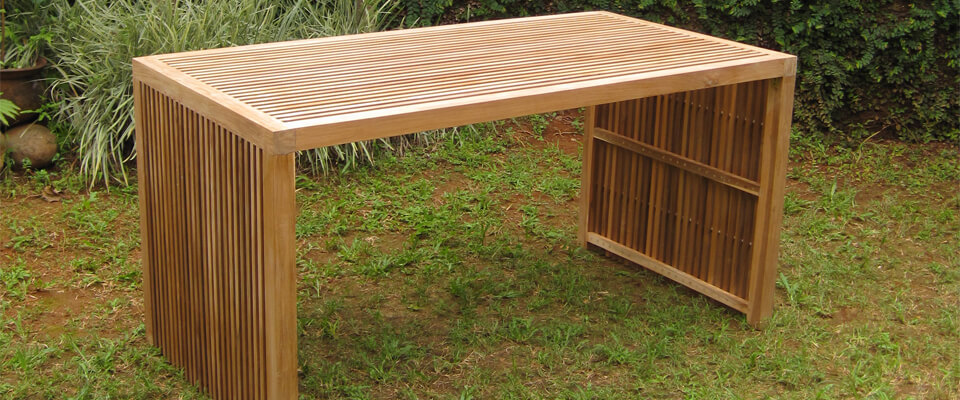 teak outdoor table with slats top
