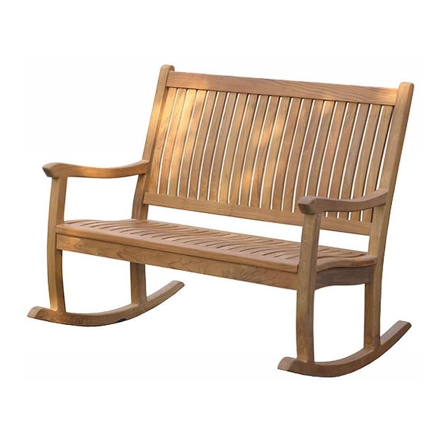 teak rocking bench
