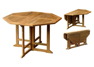 Teak Octagonal Gate Leg Table