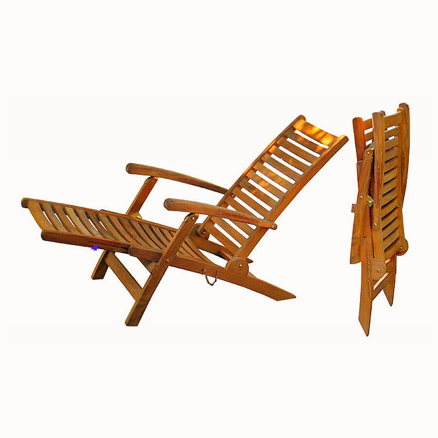 teak folding deck chair