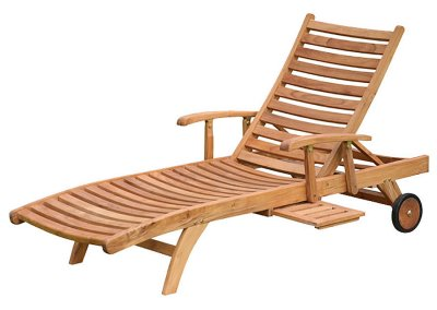 Teak Horizon Sun Loungers With Arm