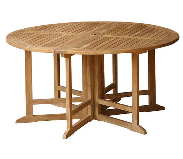 Teak Outdoor Round 150 cm drop leaf table QFT 22 150 cm 6 Legs