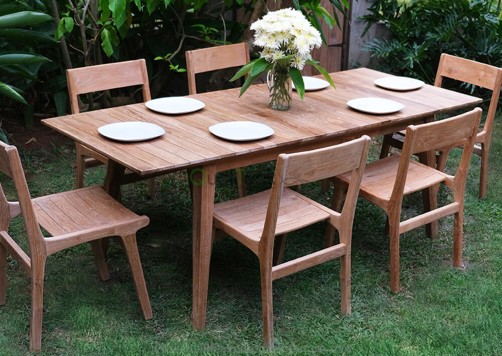 teak outdoor dining set tempur 6 chair 1