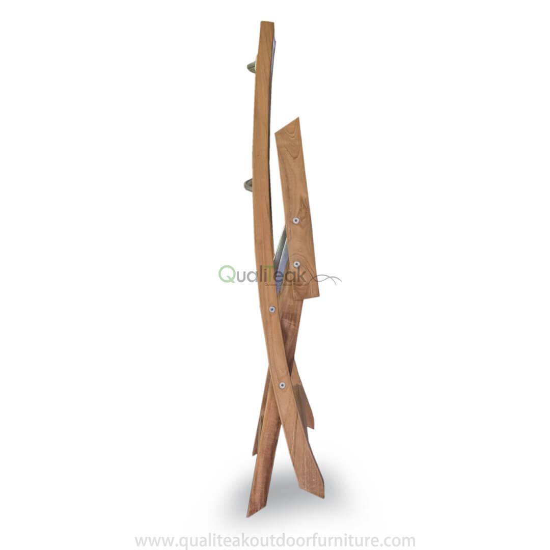 Teak Folding Chair With Textilene Fabrics Folded