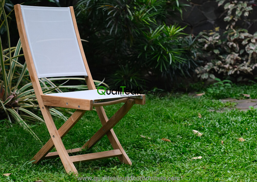 Teak Folding Chair With Textilene Fabrics Main Image