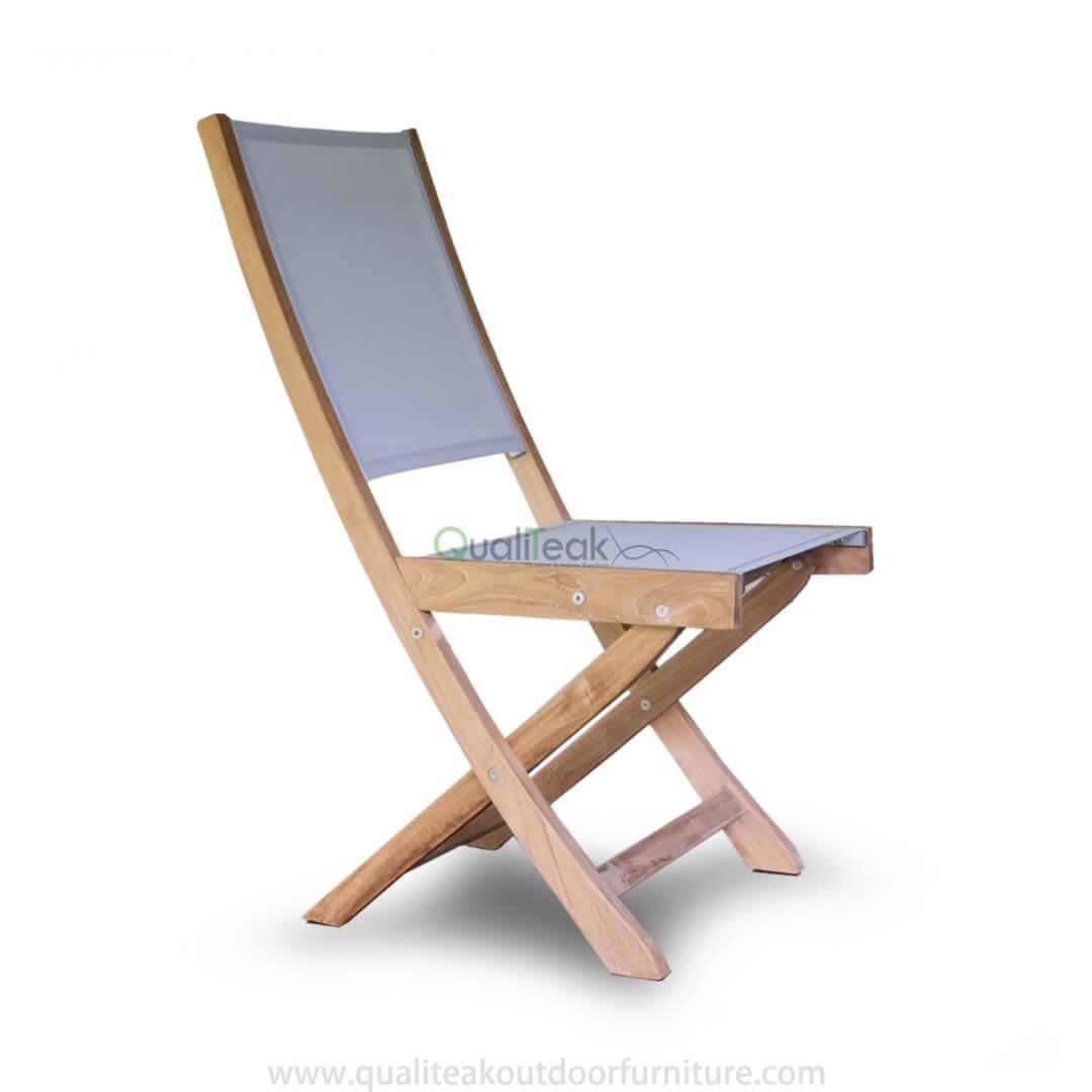 Teak Folding Chair With Textilene Fabrics