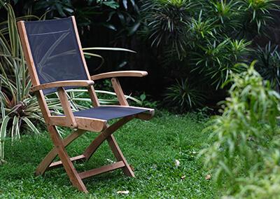 Teak Textilene Folding Armchair Main Image