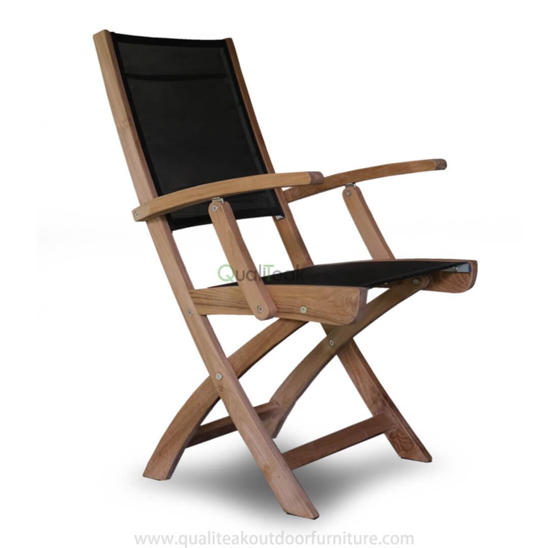 Teak Textilene Folding Armchair